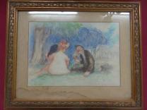 """1er projet du tableau """"Le Flirt"""" 1906 Lot 54 de la 1ère vente de l'atelier en 1936"""