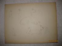 """Etude pour la lithographie """"Coin de foire"""" 1913"""