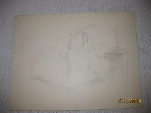 """Dessin préparatoire pour le tableau"""" Les comptes de la cuisinière"""" 1908"""