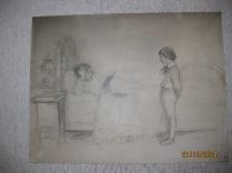 """Dessin préparatoire pour le tableau """"La Leçon"""" 1905"""