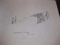 """Etude pour la lithographie """"Le 4 août à Mortfontaine"""" 1914"""