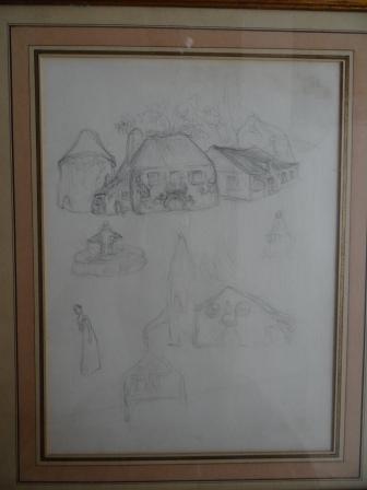 """Etude pour des illustrations parues dans """"Le Rire"""" 1896 Les maisons sont des visages"""