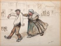 """Dessin préparatoire pour le tableau """"Le retour au logis"""" 1903"""