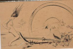 """La Machine, plume et aquarelle. Dessin préparatoire au tableau """"Dynamis ou La Houille Rouge"""" 1902"""