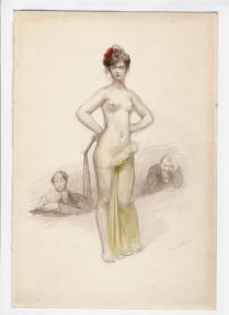 La Satire 1899 Aquarelle pour servir de Frontispice à l'exemplaire d'un livre appartenant à Louis LACROIX