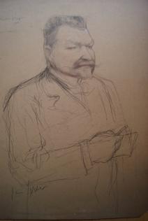 """Dessin préparatoire pour le tableau """"Portrait de Gaston STIEGLER"""" 1900"""