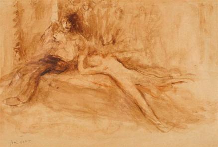 """Dessin préparatoire pour le tableau """"L'Homme aux Poupées"""" 1896"""