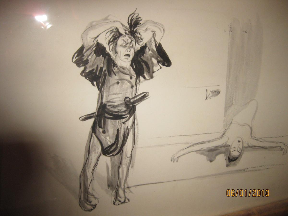 Lavis d'encre de Jean Veber représentant un samourai dans un théatre not