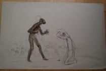 La traite des Blancs 1909 (1er projet de la lithographie Notre Dame des Colonies)
